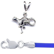 Gift Boxed Cheetah Pendant Jewellery with 41cm Blue Cord Sterling Silver Wild Cat Jewellery Set