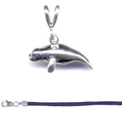 Gift Boxed Manatee Pendant with 46cm Purple Satin Cord Sterling Silver Ocean Animal Jewellery Set