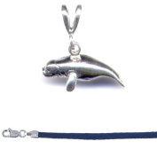Gift Boxed Manatee Pendant with 46cm Blue Satin Cord Sterling Silver Ocean Animal Jewellery Set