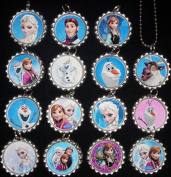 15 DISNEY FROZEN Flat Bottle Cap Necklaces for Birthday, Party Favour Set A2