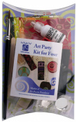 "Art Night Out Party Kit for 4 People Makes 4 Circle Resin Pendants in Silver Plate with ""Warm"" Colours"