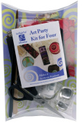 "Art Night Out Party Kit for 4 People Makes 4 Rounded Square Resin Pendants in Silver Plate with ""Warm"" Colours"