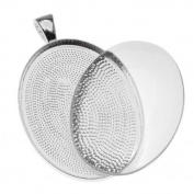 Silver Plated Oval Bezel With Glass Oval Cabochon 30x40mm - Pendant Kit