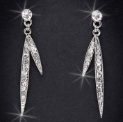 Crystal Rhinestone Earrings, 5.1cm Long, Crystal/Silver EAR-4003