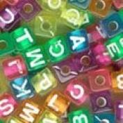 Plastic Alphabet Beads Transparent Colours 7mm Cubes