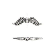 "Bead, antiqued silver-plated ""pewter"" (zinc-based alloy), 23x6mm double-sided angel wings. Sold per pkg of10"