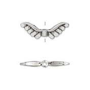 """Bead, antiqued silver-plated """"pewter"""" (zinc-based alloy), 24x8mm double-sided angel wings. Sold per pkg of 10"""