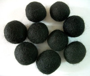 Felted Wool Beads- Pack of Nine 1.9cm Diameter Black