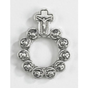 Catholic Gift Rosebud Shape Prayer Beads 3.8cm Silver Tone Rosary Prayer Ring