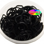 Black Loom Rubber Bands Jewellery Making-600pcs Loom Bands+24pcs S-clips