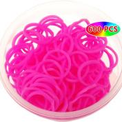 Deep Rose Colour Rubber Bands for Bracelet-600pcs Loom Bands+24pcs S-clips