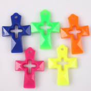 35pcs Colourful Acrylic Hollow Cross Charms Cute Findings