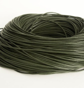 BeadsTreasure 15 Ft of Dark Olive Genuine Leather Cord Round 2 mm Diameter.