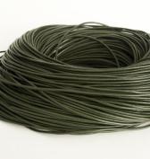 BeadsTreasure 15 Ft of Dark Olive Genuine Leather Cord Round 2 mm Diameter.