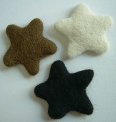 Felted Wool Stars by WooLaLa- White Brown & Black