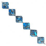 Fiona 25mm Diamond Shape Aqua Blue Collage Stone Beads Strand