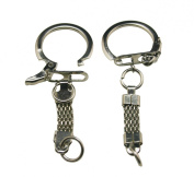 Amanaote Metal Silvery 6.6cm Self-locking Key Ring With Chain