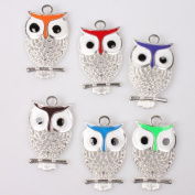 20pcs Enamel Hollow Owl Silver lustre & Colourful Alloy Charms Fit Jewellery