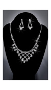Crystal Rhinestone Necklace Chain and Earring Set, Crystal/Silver NEC-2029