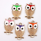 20pcs Enamel Hollow Owl Rose Gold & colourful Alloy Charms Fit Jewellery