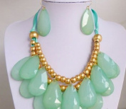 Aqua Teardrop Necklace, Statement Bubble Necklace, Bubble Jewellery