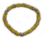 Yellow Glass Evil Eye Stretch Bracelet
