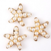 20pcs Faux Pearls Starfish Kc Gold Alloy Stick-on Flatbacks Embellishment