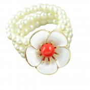White Freshwater Pearl Bracelet with Noble Flower, BR-1242C
