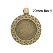 Carved Antique Bronze Pendant Tray Base fit 20mm Cabochon-10pcs