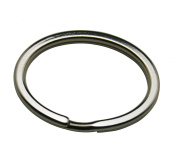 Amanaote Metal Silvery 3.7cm Diameter Oval Shape Keyring Key Ring Chain Split Ring