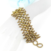 gold Charm Beads Wide Band Bracelet, Br-1202e
