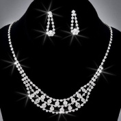 Crystal Rhinestone Necklace Chain and Earring Set, Crystal / Silver, NEC-2085