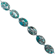 Fiona 24 by 18mm Oval Flat Turquoise Collage Stone Beads Strand