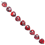 Fiona 16mm Heart Shape Red Collage Stone Beads Strand