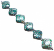 Linpeng Internationa Collage Diamond Shape Stone Beads Strand, 18cm , Turquoise/Grey