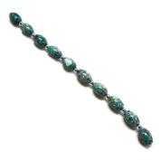 Linpeng Internationa Collage Olive Shape Stone Beads Strand, 18cm , Turquoise/Grey