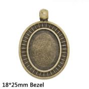 Oval Shape Antique Bronze Pendant Tray Base fit 18x25mm Cabochon-10pcs