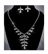 Crystal Rhinestone Necklace Chain and Earring Set, Crystal/Silver NEC_2027