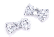 EK Success Brands Laliberi Shoe Clips, Silver Sequin Bows