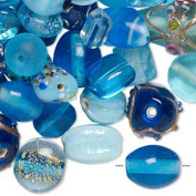 Turquoise blue with fancy finish lampworked glass mixed beads-7x4mm-14x11mm mixed shapes-Sold per pkg of 100-grammes, approximately 60-100 beads
