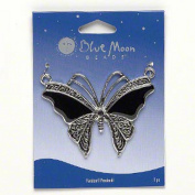 Blue Moon Butterfly Pendant Black and Antiqued Silver 5.7cm x 5.1cm