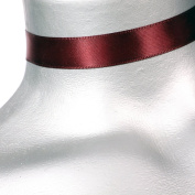Adjustable 1.6cm Plain Dark Red Satin Choker Necklace -- Size Large