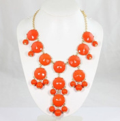 Charms Smooth Orange Bubble Necklace,handmade Bib Necklace,statement Bubble Necklace
