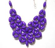 WIIPU purple fan bubble bib necklace,statement bubble necklace,bubble jewellery