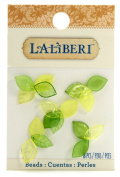 Laliberi Beads, Leaves Tiny, Green Assorted