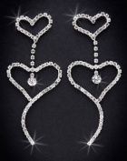 Crystal Rhinestone Heart Earrings, 7.6cm - 1.3cm Long, Crystal/Silver NEC-4030