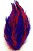 6 Pcs Hackle Feather Pads - PURPLE/RED Mix