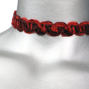 Gothic Blood Red Swirl Chenille Ribbon Choker Necklace -- Size Small