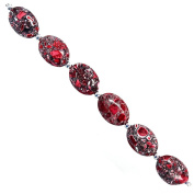 Fiona 24 by 18mm Oval Flat Red Collage Stone Beads Strand