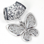 Scarf Jewellery - Antique Silver Filigree Butterfly Scarf Pendant